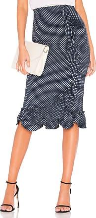 Rebecca Taylor Dot Ruffle Skirt in Navy