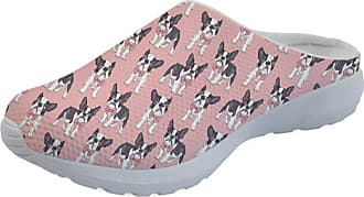 Coloranimal Pink Lazy Loafers for Ladies Kawaii Classy Boston Terrier Puzzle Slippers US11