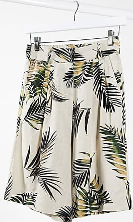 Object tailored city shorts co-ord in palm print-Beige