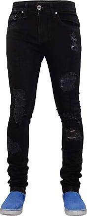 True Face Mens Ripped Biker Jeans Stretch Skinny Trousers Denim Pants Black 30 Waist 32 Leg