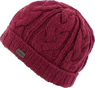 KuSan (KU1107 100% Wool Cable Knit Turn up Beanie hat (Mens/Ladies/Unisex) (Red)