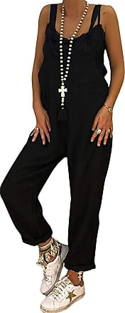 TOMWELL Womens Retro Loose Casual Baggy Sleeveless Overall Long Jumpsuit Playsuit Trousers Pants Dungarees Black UK 10