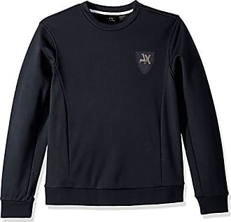 A|X Armani Exchange Mens AX Collegiate Pullover, Out Out Navy/Inside Black, L