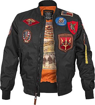 Top Gun Fliegerjacke MA-1 mit Patches schwarz, Größe XXL