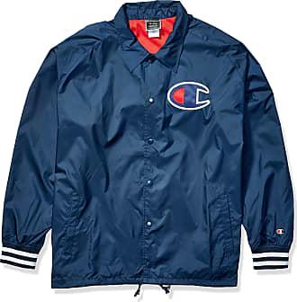 Champion LIFE Mens Satin Coaches Jacket with Ribbed Cuffs Varsity, Navy W/Twill C Logo, S