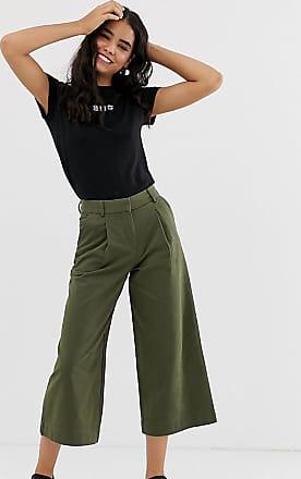 Monki Pantaloni cropped con fondo ampio kaki-Verde