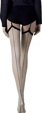 Fiore 20 Denier Patterned Seamed Stockings (Large, Linen/Black)
