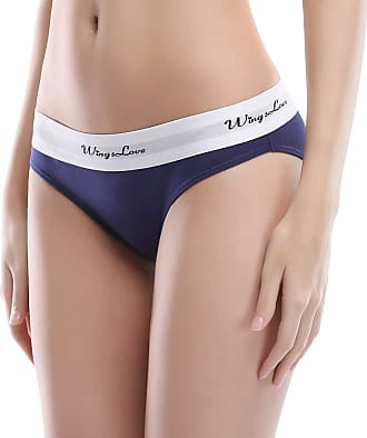 Wingslove 3 Pack Womens Cotton Briefs Soft Seamless Bikini Underwear Hipster Panty Comfortable(S,Blue)
