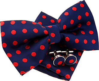 Retreez Classic Polka Dots Woven Microfiber Pre-tied Bow Tie (Width: 5) with matching Pocket Square and Cufflinks, Gift Box Set as a Christmas Gift, Birthday