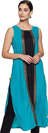 Indigo Womens Cotton Straight Kurta (SS20/IND-1518_ Turquoise_ Large)