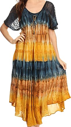 Sakkas 17506 - Sula Long Laced Rayon Tie-Dye Wide Neck Embroidered Boho Sundress Cover Up - Navy/Brown - OS