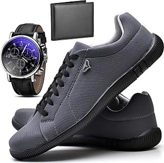 Juilli Kit Sapatênis Sapato Casual Com Relógio e Carteira Masculino JUILLI 920DB Tamanho:41;cor:Cinza;gênero:Masculino
