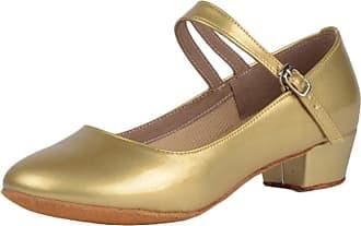 Insun Girls 1.4 Pump Dance Shoes Latin Salsa Tango Practice Ballroom Party Performance Shoe for Big Kid Gold Rubber Sole 12.5 UK Child