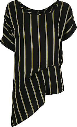 Uma Blusa assimétrica listrada - Preto