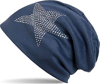 styleBREAKER Warm Beanie hat with Star Rhinestone Application, Unisex 04024023, Color:Navy