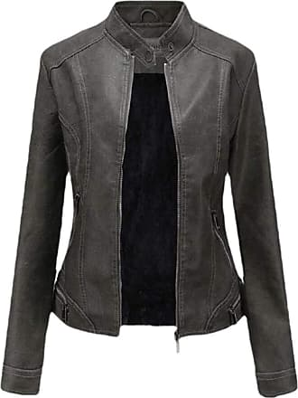 VITryst Womens PU Leather Solid Slim Fit Stand Collar Zipper Bomber Outwear Jackets Motor Jacket Coat,1,X-Small
