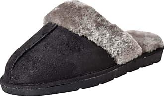True Face Ladies Faux Fur F8224B Slippers Black UK 4