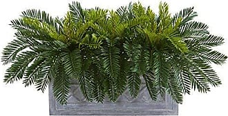Nearly Natural 8067 Cycas Stone Planter Artificial Plant, Green