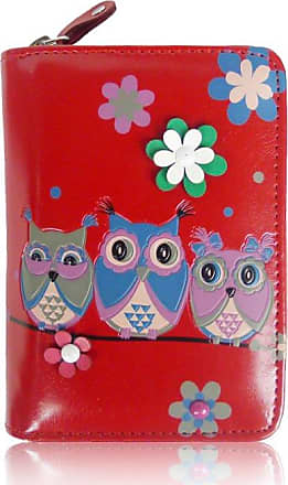 Your Dezire Ladies Girls Owls Short OilCloth Women Purse Card Coin Holder Wallet (Red)