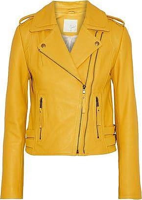 Joie Joie Woman Leolani Leather Biker Jacket Marigold Size XXS