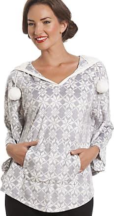 Camille Womens Ladies Snowflake Print Grey Hooded Fleece Poncho S