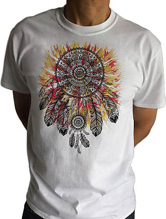 Irony Mens Tribal Red Indian Native American Feathers Culture T-Shirt Novelty C11-8 (XXLarge)