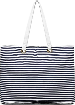 Quirk Stripe Canvas Tote Bag - Navy Blue