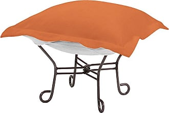 Elizabeth Austin Milan Outdoor Elizabeth Austin Seascape Sunbrella Scroll Puff Ottoman Seascape Canyon Orange - Q510-297