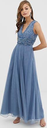 Asos Vestito da damigella lungo con corpino drappeggiato con perle e paillettes-Blu