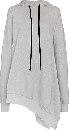 Unravel asymmetric cotton hoodie dress - Grey