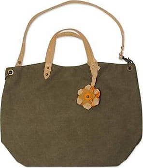 Novica Cotton and leather accent shoulder bag, Andean Florette on Green