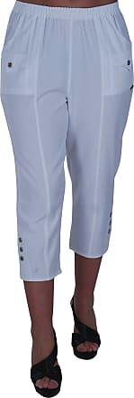 Eyecatch Verde Ladies Capri Crop Pants Flexi Stretch Plus Sizes Womens 3/4 Trousers White Size 20