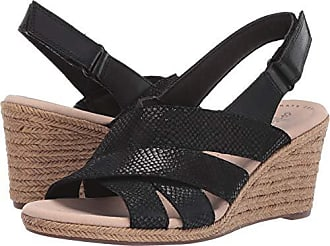 008755195fe Clarks Womens Lafley Krissy Espadrille Wedge Sandal Black Suede Leather  Combi 060 M US