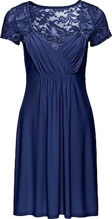 Bodyflirt Dam Jerseyklänning med spets i blå kort ärm - BODYFLIRT fe84a82610786