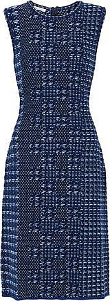 Oscar De La Renta Oscar De La Renta Woman Jacquard-knit Virgin Wool Dress Navy Size XL