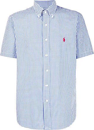 Camicia Sportiva con Bottoni Ralph Lauren a Quadretti Slim Fit Colore: Blu//Bianco