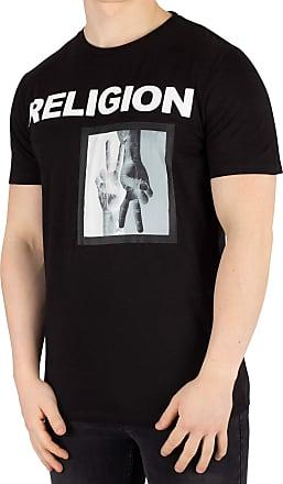 Religion Mens Up Down T-Shirt, Black, S