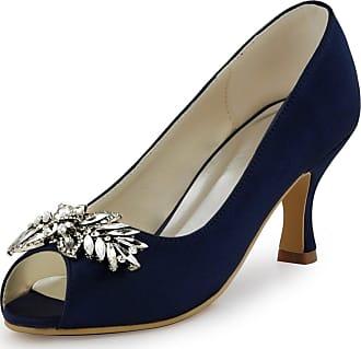 Elegantpark HP1540 Women Mid Heels Prom Satin Peep Toe Pumps Rhinestiones Wedding Evening Court Shoes Navy Blue UK 9
