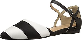 Chinese Laundry Womens Helena Pointed Toe Flat, Wht/Blk Stripe, 7 M US