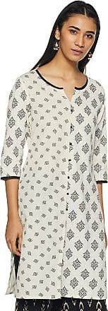 Indigo Womens Cotton Straight Kurti (SS19/IND-607_ Off-White_ X-Large)