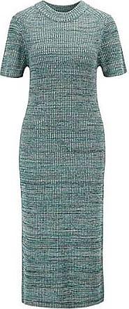 1db86fb2a09aeb BOSS Gebreide jurk met korte mouwen van meerkleurig mouliné-materiaal