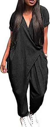 Damen Jumpsuit Party Lang Overall Lässig Weites Bein Hosenanzug Playsuit Mode P//