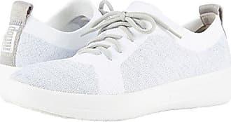 cd8bfe493e8d1 FitFlop Womens F-Sporty ÜBERKNIT Metallic-Weave Sneakers Silver Urban  White