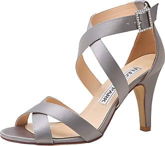 Elegantpark HP1705 Wedding Sandals for Women Strappy Sandals High Heels Peep Toe Buckle Satin Wedding Bridal Shoes Evening Party Shoes Steel Silver UK 9(EU 42)