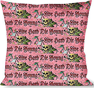 Buckle Down Pillow Decorative Throw Live Hard Die Young Pink