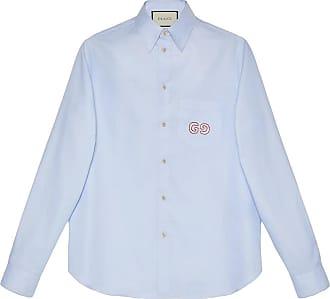 Gucci Camisa Oxford com GG - Azul