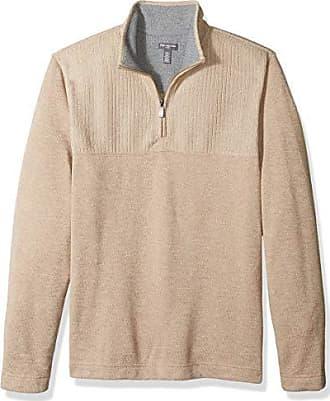 Van Heusen Mens Big and Tall Flex Long Sleeve 1/4 Zip Texture Block Soft Sweater Fleece, Khaki Chinchilla, 4X-Large