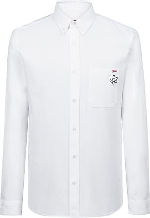 ba48e73d HUGO BOSS Relaxed-fit shirt in Oxford cotton with seasonal motif
