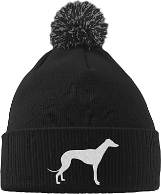 HippoWarehouse Greyhound Logo Embroidered Beanie Hat with Bobble Black