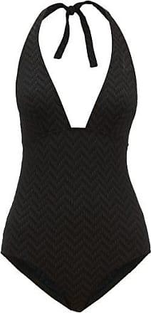 Eres Gabardine Halterneck Zigzag-knitted Swimsuit - Womens - Black